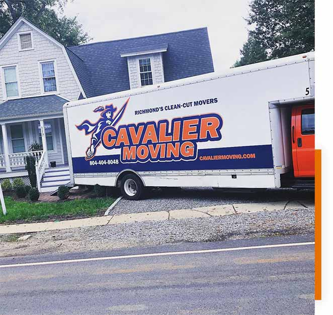 Pictured: a Cavalier Moving truck parked at a house for a residential move.