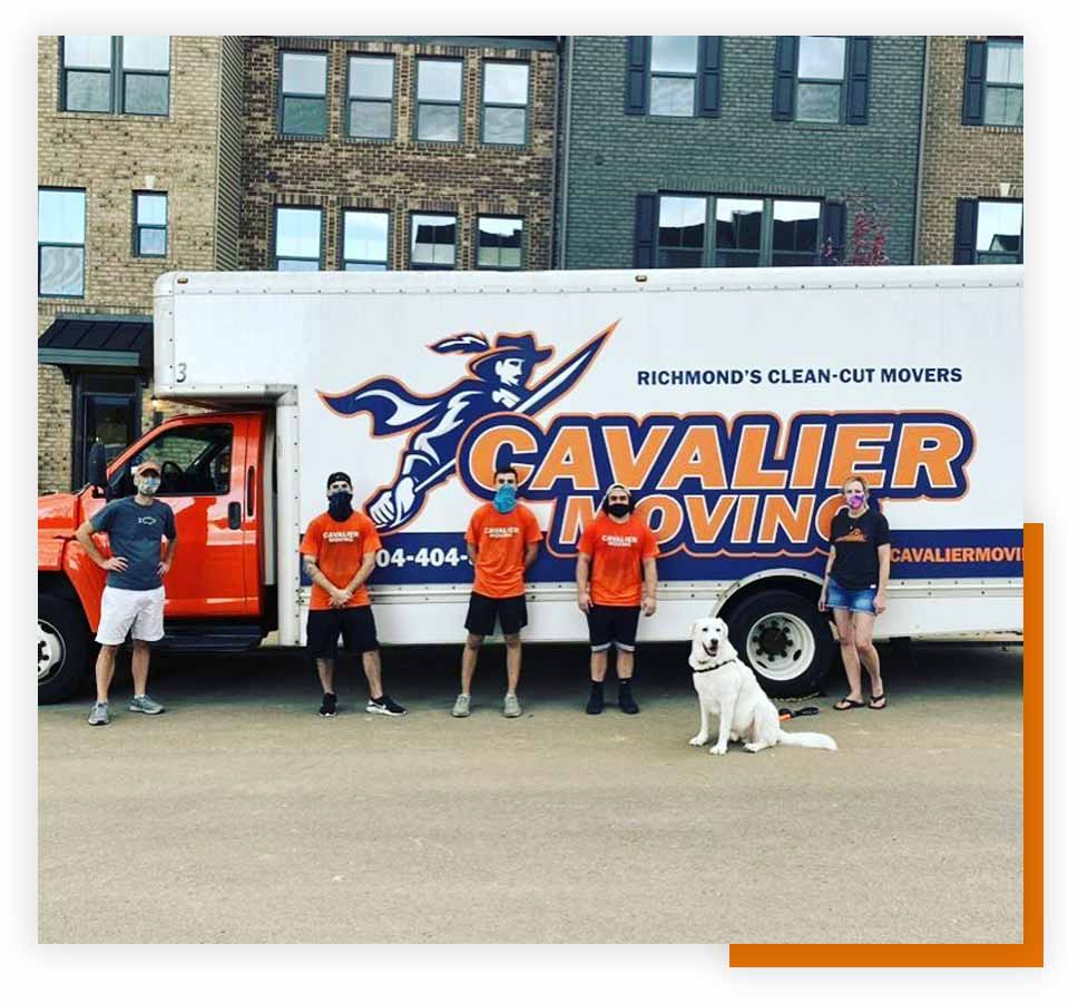 Image: the Cavalier Moving crew with masks on standing in front of the Cavalier Moving truck.